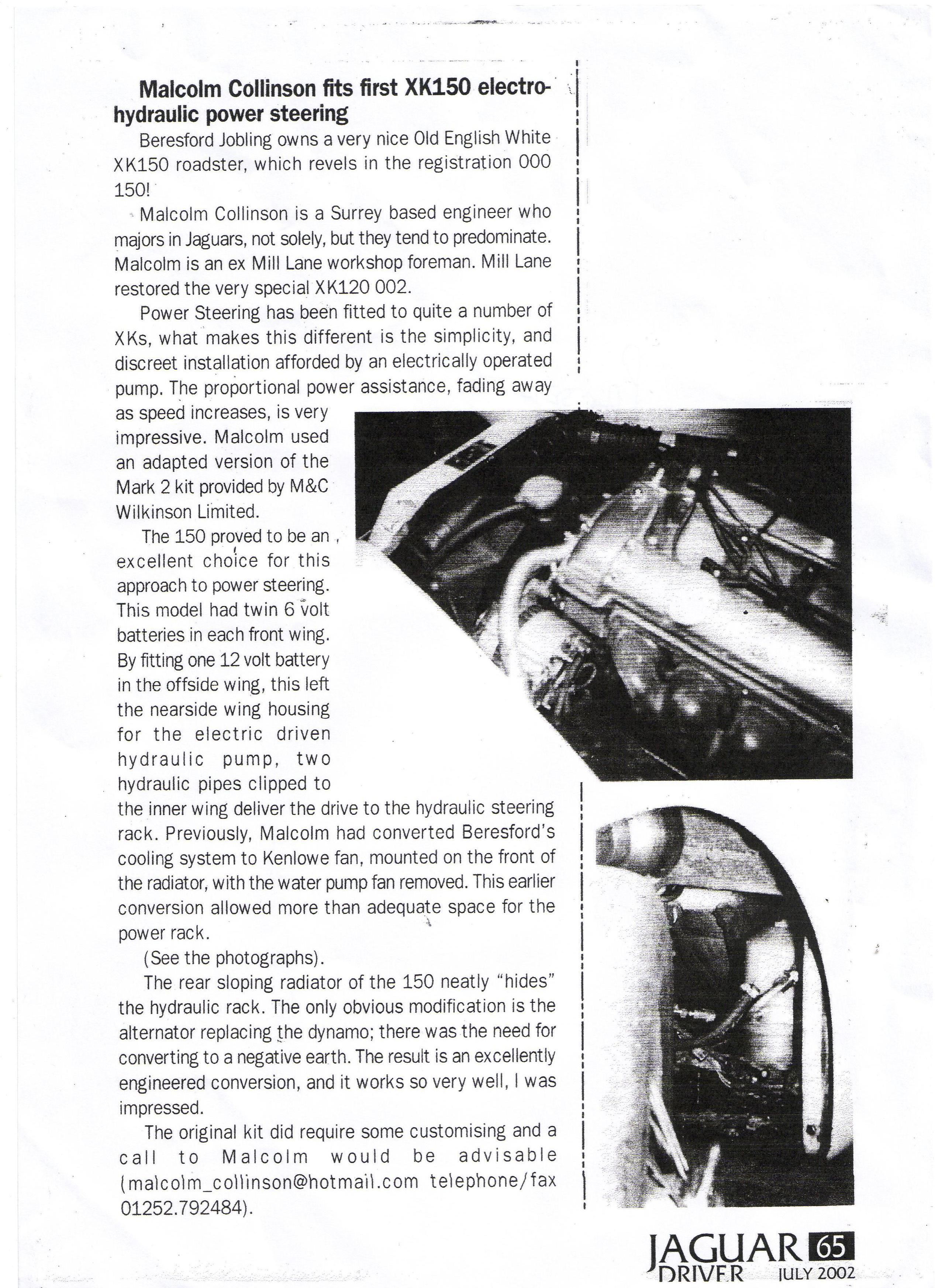 Jaguar Driver Magazine July 2002 - Malcolm Collinson fits first electrohydraulic power steering